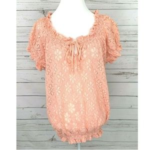❤ Just In! Cato Pink Lace Short Sleeve Plus Blouse